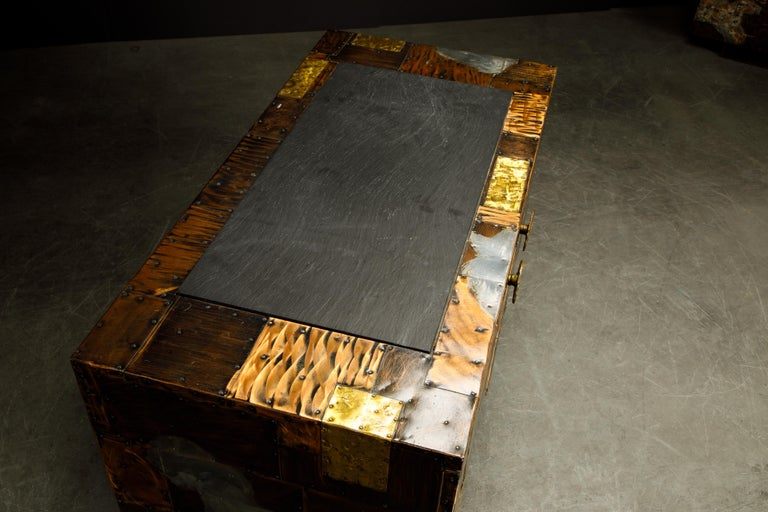 Paul Evans Patchwork Copper Cabinet with Slate Top for Directional, c. 1967 For Sale 7
