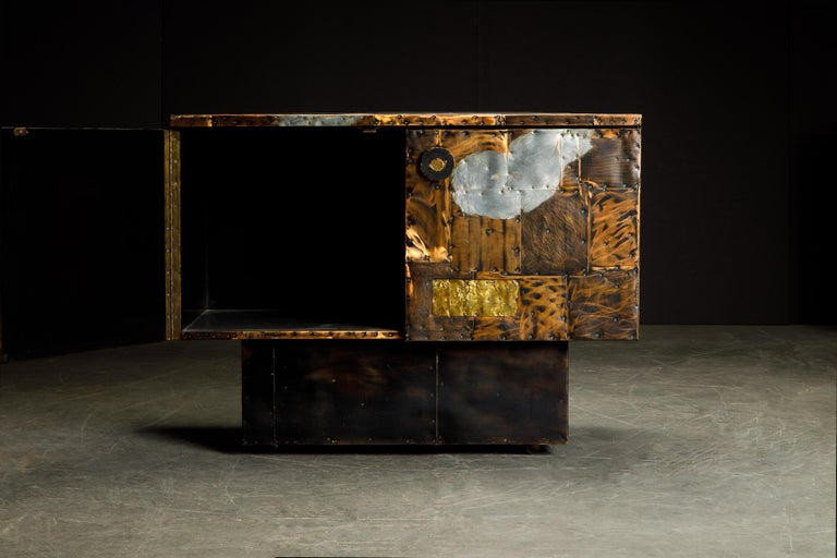 Brutalist Paul Evans Patchwork Copper Cabinet with Slate Top for Directional, c. 1967 For Sale