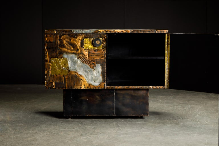 American Paul Evans Patchwork Copper Cabinet with Slate Top for Directional, c. 1967 For Sale