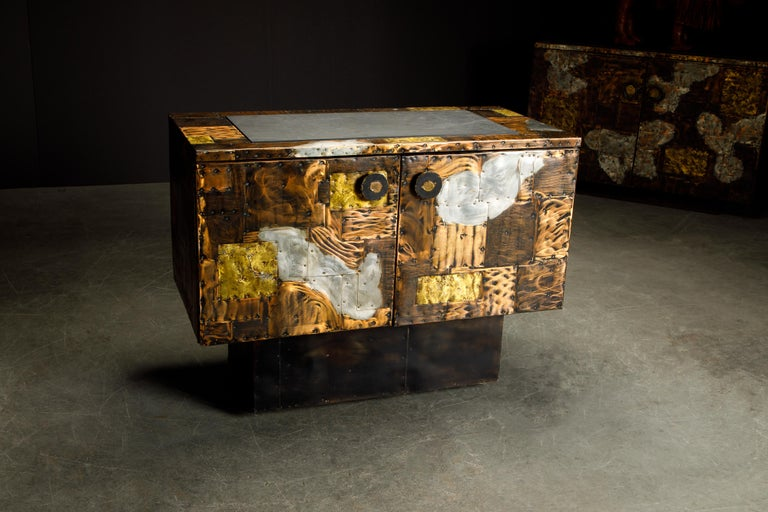 Patinated Paul Evans Patchwork Copper Cabinet with Slate Top for Directional, c. 1967 For Sale