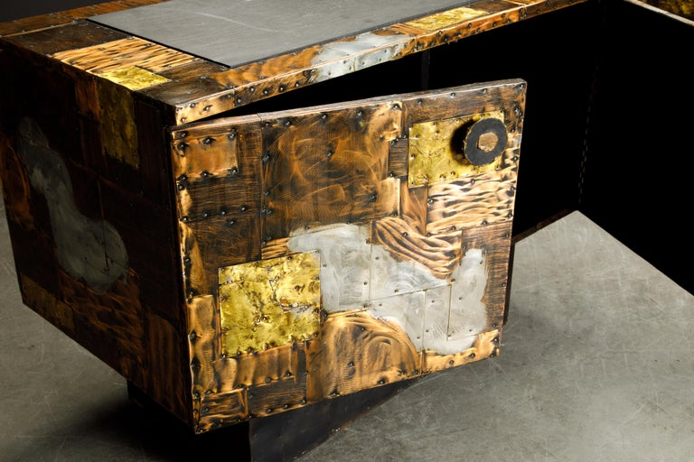 Paul Evans Patchwork Copper Cabinet with Slate Top for Directional, c. 1967 In Good Condition For Sale In Los Angeles, CA