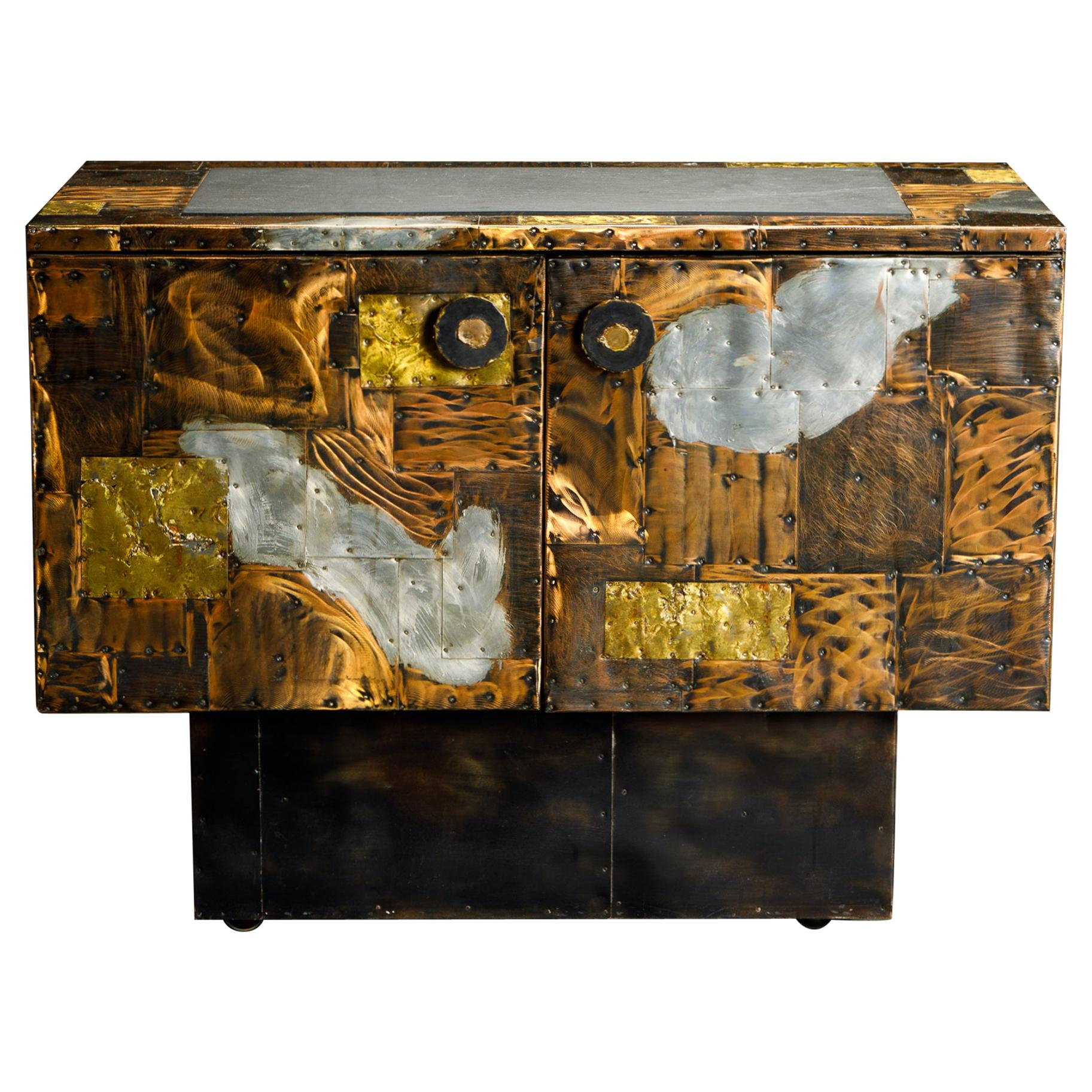 Paul Evans Patchwork Copper Cabinet with Slate Top for Directional, c. 1967