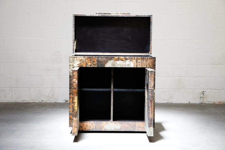Patinated Paul Evans Patchwork Copper Flip-Top Dry Bar Cabinet for Directional, circa 1967 For Sale
