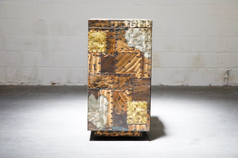 Brass Paul Evans Patchwork Copper Flip-Top Dry Bar Cabinet for Directional, circa 1967 For Sale