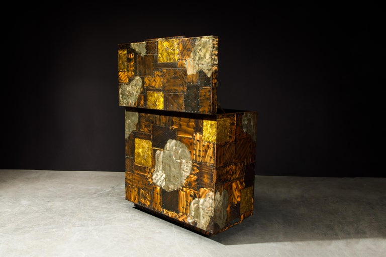 Paul Evans Patchwork Copper Flip-Top Dry Bar Cabinet for Directional, circa 1967 For Sale 3