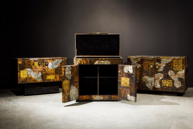 Paul Evans Patchwork Copper Flip-Top Dry Bar Cabinet for Directional, circa 1967 For Sale 8