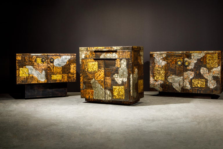 Paul Evans Patchwork Copper Flip-Top Dry Bar Cabinet for Directional, circa 1967 For Sale 10