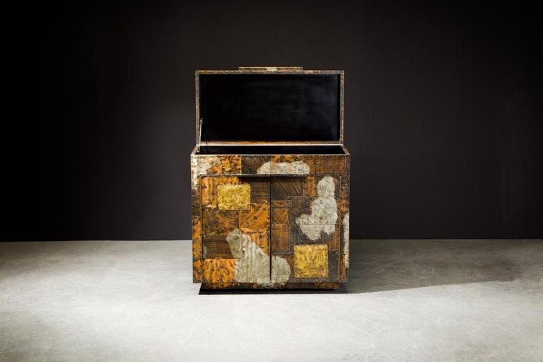 Brutalist Paul Evans Patchwork Copper Flip-Top Dry Bar Cabinet for Directional, circa 1967 For Sale