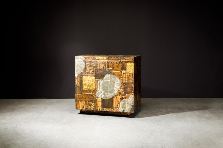 Mid-20th Century Paul Evans Patchwork Copper Flip-Top Dry Bar Cabinet for Directional, circa 1967 For Sale