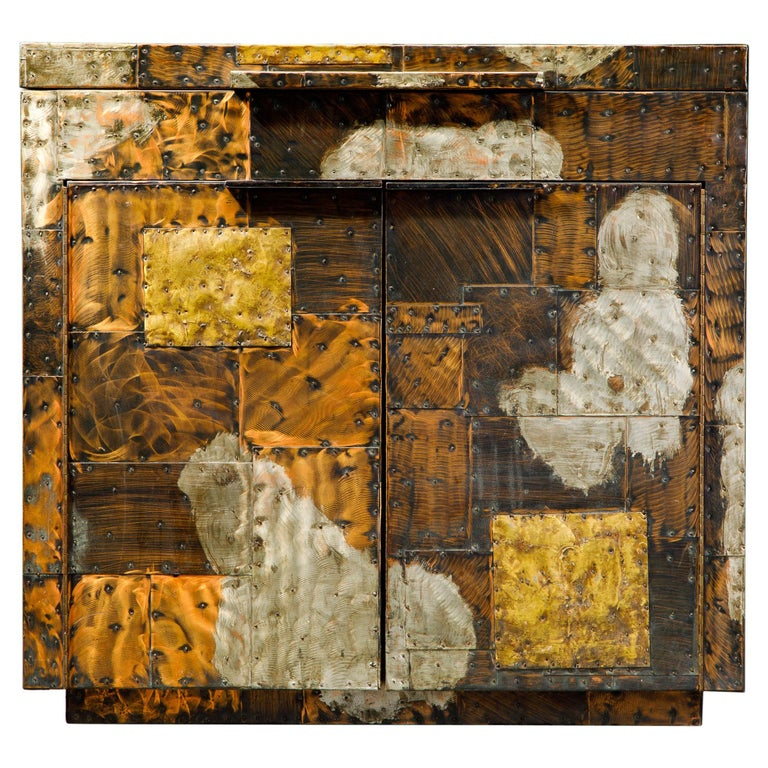 Paul Evans Patchwork Copper Flip-Top Dry Bar Cabinet for Directional, circa 1967 For Sale