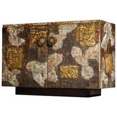 Paul Evans Patchwork Copper Sideboard Cabinet w Slate Top for Directional, 1967