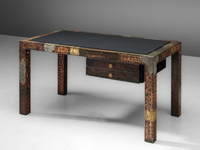 Paul Evans, patchwork desk, copper, brass, pewter, slate, United States, 1970s.