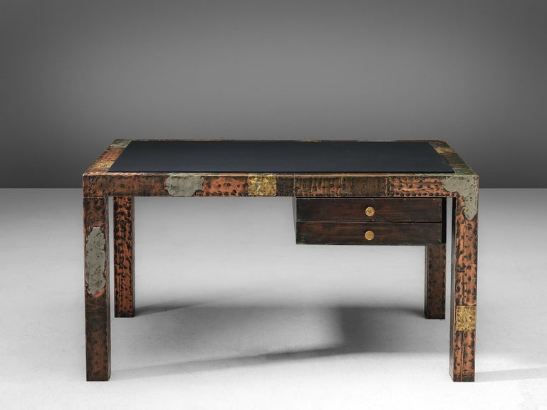 American Paul Evans Patchwork Desk, 1970s For Sale
