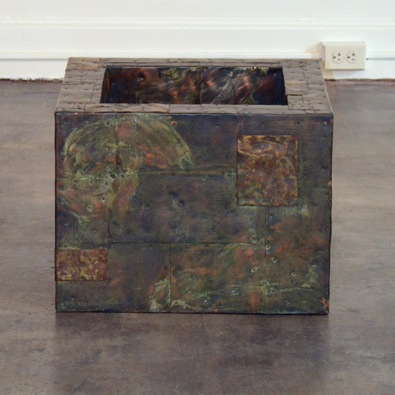 Brutalist Paul Evans Patchwork Metal Coffee Table for Directional c. 1970 For Sale