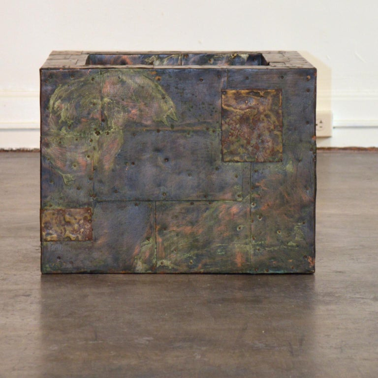 American Paul Evans Patchwork Metal Coffee Table for Directional c. 1970 For Sale