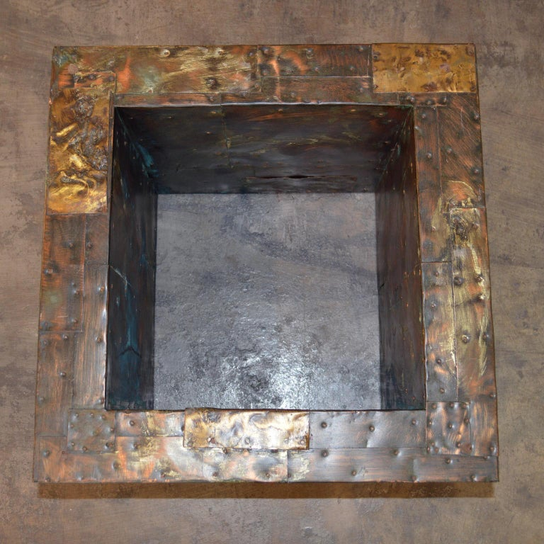 Brass Paul Evans Patchwork Metal Coffee Table for Directional c. 1970 For Sale