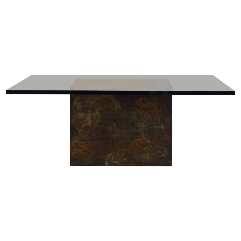 Paul Evans Patchwork Metal Coffee Table for Directional c. 1970 For Sale