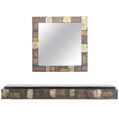 Paul Evans Patchwork Mirror and Console with Pennsylvania Slate Top, 1970s
