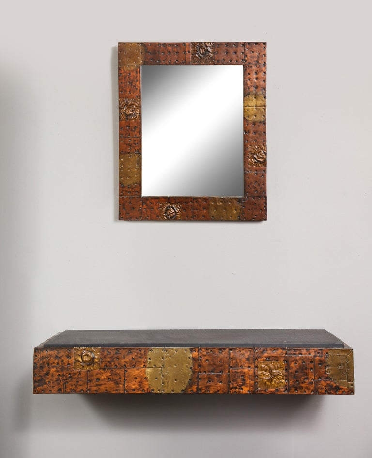 Paul Evans patchwork mirror and wall-mounted console. The dimensions of the console is 5-5/8
