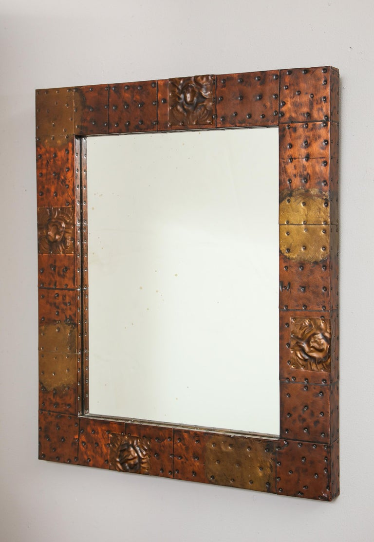 Paul Evans Patchwork Mirror and Wall-Mounted Console For Sale 1