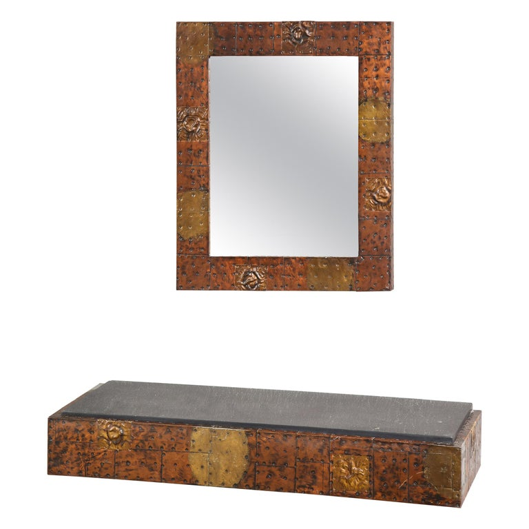 Paul Evans Patchwork Mirror and Wall-Mounted Console For Sale