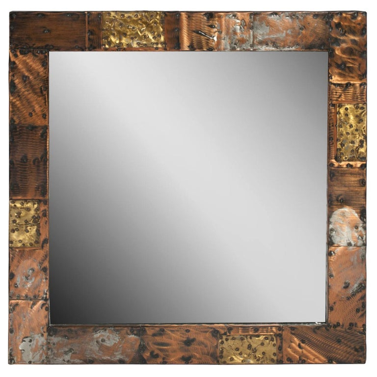 """Paul Evans """"Patchwork"""" Mirror in Copper, Brass and Pewter, 1970s For Sale"""