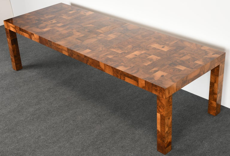 American Paul Evans Patchwork Walnut Dining Table for Directional, 1970s For Sale