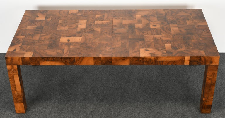 Late 20th Century Paul Evans Patchwork Walnut Dining Table for Directional, 1970s For Sale