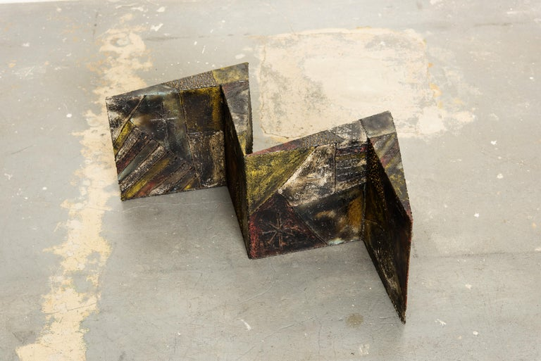Paul Evans PE-11 Angle Cocktail Table in Oxidized Steel and Bronze, c. 1970 For Sale 7