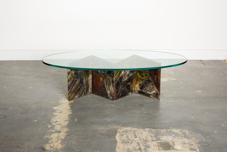 American Paul Evans PE-11 Angle Cocktail Table in Oxidized Steel and Bronze, c. 1970 For Sale