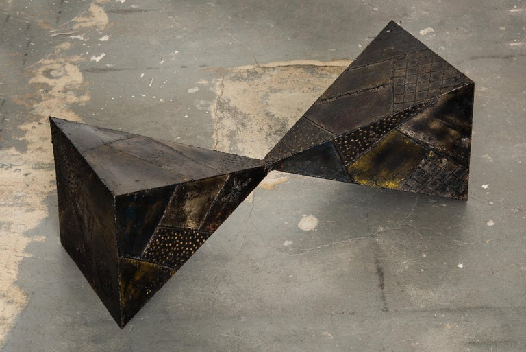 Paul Evans PE-13 Double-Pyramid Cocktail Table in Steel, Pewter & Bronze c. 1970 For Sale 3