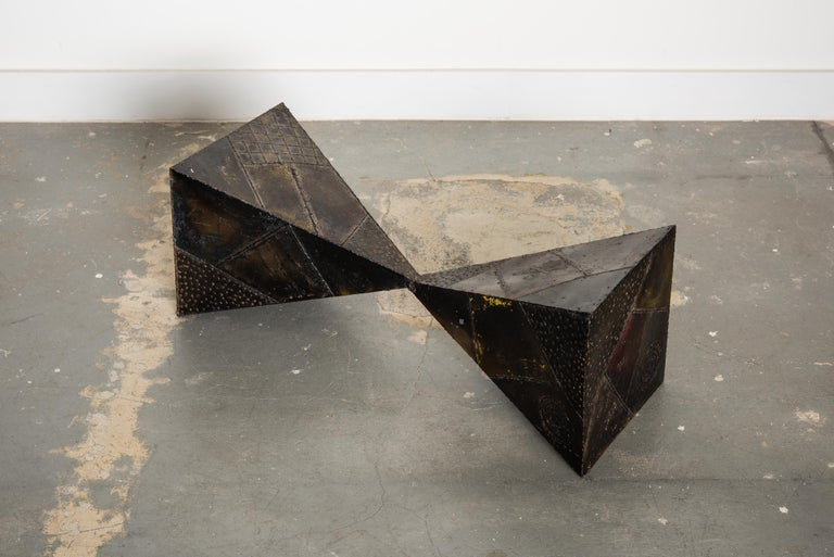 Paul Evans PE-13 Double-Pyramid Cocktail Table in Steel, Pewter & Bronze c. 1970 For Sale 5