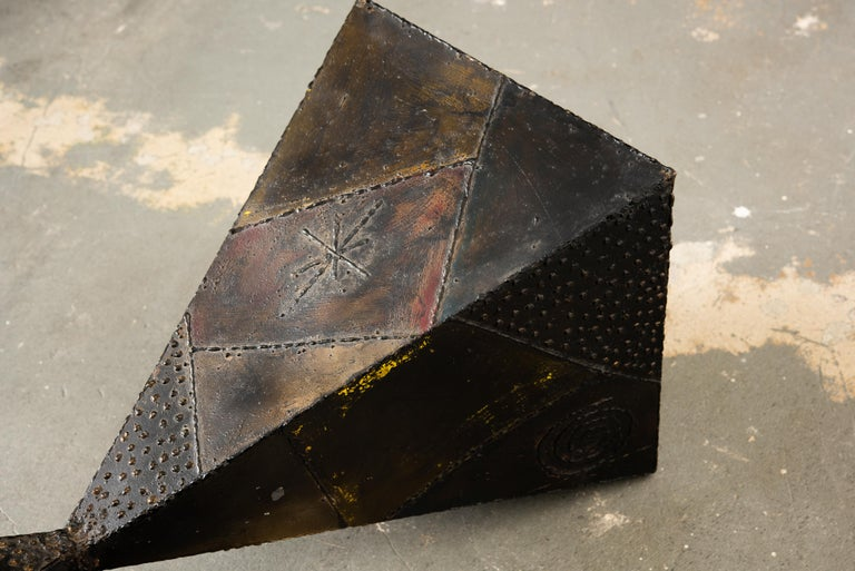 Paul Evans PE-13 Double-Pyramid Cocktail Table in Steel, Pewter & Bronze c. 1970 For Sale 11