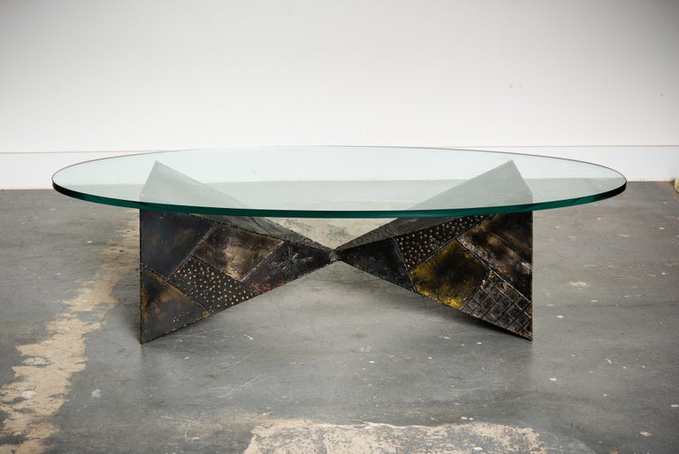 Brutalist Paul Evans PE-13 Double-Pyramid Cocktail Table in Steel, Pewter & Bronze c. 1970 For Sale