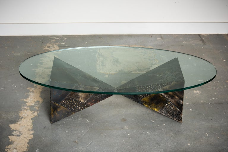 American Paul Evans PE-13 Double-Pyramid Cocktail Table in Steel, Pewter & Bronze c. 1970 For Sale