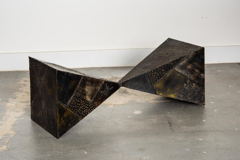 Paul Evans PE-13 Double-Pyramid Cocktail Table in Steel, Pewter & Bronze c. 1970 For Sale 2