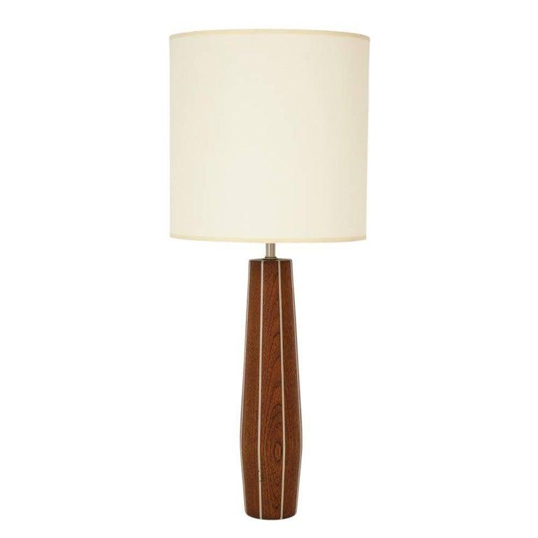 Paul Evans Phillip Lloyd Powell Table Lamp Walnut Pewter USA 1950's
