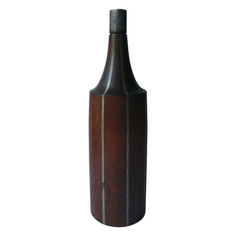Paul Evans & Phillip Lloyd Powell, Very Rare, Walnut and Pewter Bottle For Sale