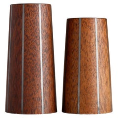 Paul Evans & Phillip Lloyd Powell Walnut and Pewter Salt and Pepper Shakers 1960