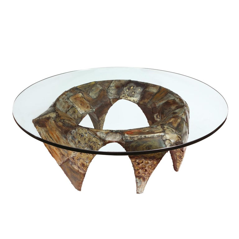 Rare and important welded steel and brass round Patchwork coffee table with applied polychrome finish and original thick glass top by Paul Evans Studio, American 1960's. There are only a few examples of this model known to exist. It's an incredible