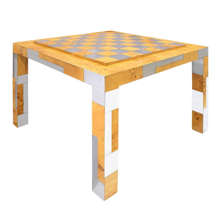 Mid-Century Modern Paul Evans Rare Game Table in Walnut Burl and Chrome, 1970s 'Signed' For Sale