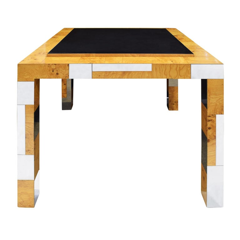 American Paul Evans Rare Game Table in Walnut Burl and Chrome, 1970s 'Signed' For Sale