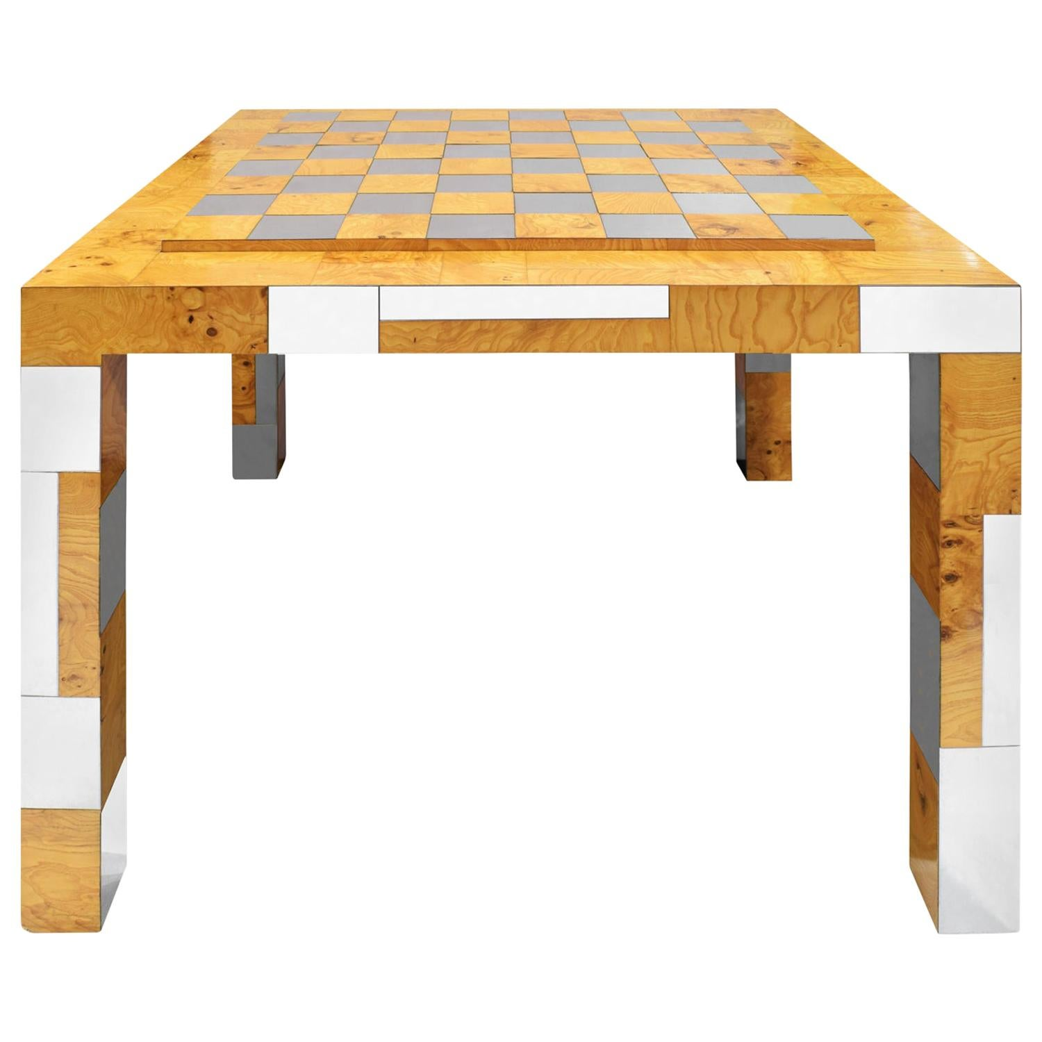 Paul Evans Rare Game Table in Walnut Burl and Chrome, 1970s 'Signed'