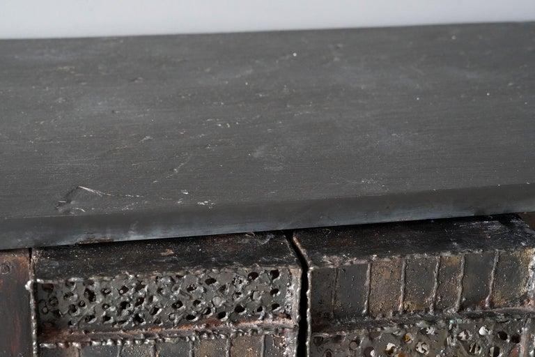 American Paul Evans, Rare Wall-Mounted Studio Cabinet, Steel, Slate, Wood, America, 1962 For Sale