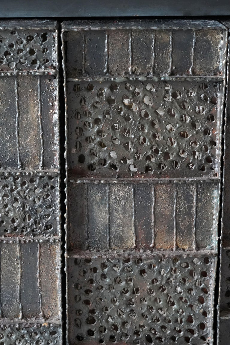 Mid-20th Century Paul Evans, Rare Wall-Mounted Studio Cabinet, Steel, Slate, Wood, America, 1962 For Sale