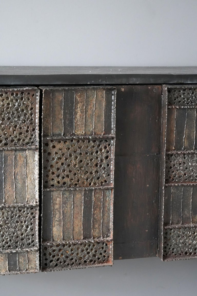 Paul Evans, Rare Wall-Mounted Studio Cabinet, Steel, Slate, Wood, America, 1962 For Sale 1