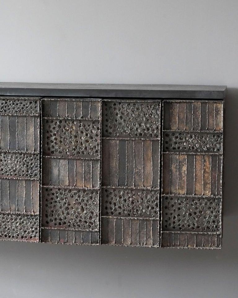 Paul Evans, Rare Wall-Mounted Studio Cabinet, Steel, Slate, Wood, America, 1962 For Sale 2