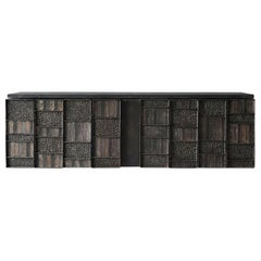 Paul Evans, Rare Wall-Mounted Studio Cabinet, Steel, Slate, Wood, America, 1962