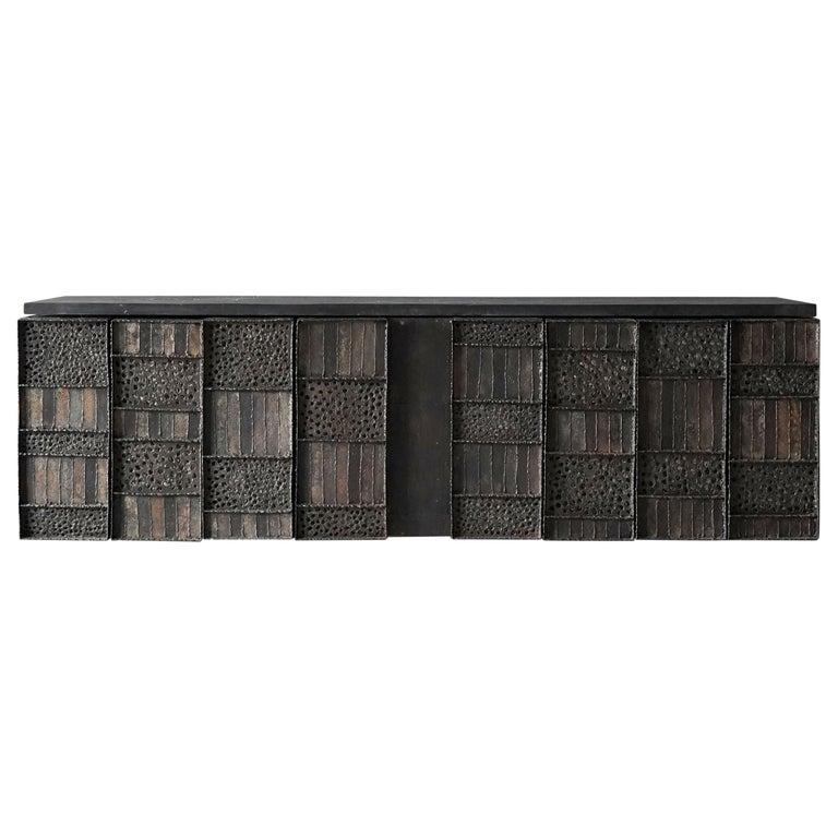 Paul Evans, Rare Wall-Mounted Studio Cabinet, Steel, Slate, Wood, America, 1962 For Sale