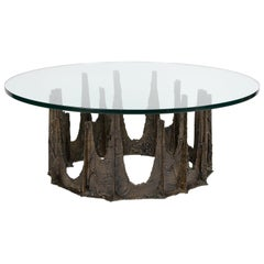 Paul Evans Round Stalagmite Coffee Table in Sculptured Bronze 1969 (Signed)
